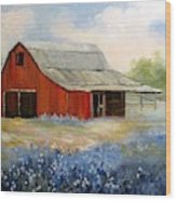 Texas Blue Bonnets And Red Barn Wood Print