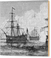 The Attack On Sullivans Island, South Wood Print