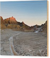 The Badlands And A Sunrise Wood Print