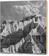 The Badlands In Black And White Wood Print