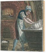 The Baker Kneading Dough On The Lid Wood Print