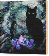 The Cat With Aquamarine Eyes And Celestial Crystals Wood Print