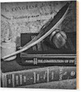 The Constitutional Lawyer In Black And White Wood Print