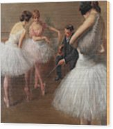 The First Pose, The Ballet Lesson Wood Print