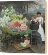 The Flower Vendor On The Quays In Paris Wood Print