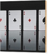 The Four Aces From A Pack Of Playing Wood Print