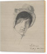 The Head Of A Young Woman Wearing A Bonnet Wood Print