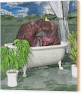 The Hippo Tub Wood Print