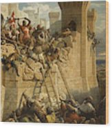 The Hospitalier Marechal Matthieu De Clermont, Defending The Walls At The Siege Of Acre, 1291 Wood Print