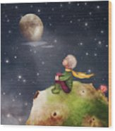 The Little Prince With A Rose On A Wood Print