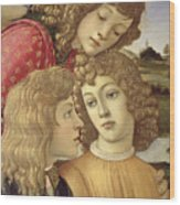 The Madonna Of The Magnificat, Detail Of Three Boys, 1482 Wood Print