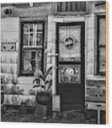 The Old Country Store Black And White Wood Print