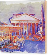 The Pantheon Rome Watercolor Streetscape Wood Print