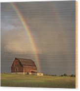 The Red Barn And A Rainbow Wood Print