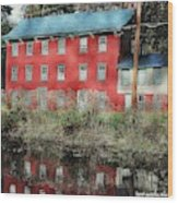 The Red House Along The Autumn Canal Wood Print