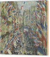 The Rue Montorgueil In Paris  Celebration  Wood Print