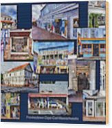 The Shops Of Provincetown Cape Cod Massachusetts Collage Pa Wood Print