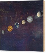 The Solar System In A Line Wood Print