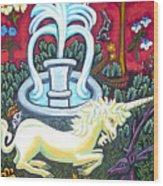 The Unicorn And Garden Wood Print