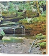The Waterfall In Old Man's Cave Hocking Hills Ohio Wood Print
