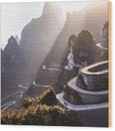 The Winding Road Of Tianmen Mountain Wood Print