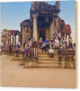 They Come To See Angkor Wat, Siem Reap, Cambodia Wood Print