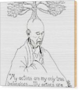 Thich Nhat Hanh Drawing Wood Print