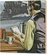 Thomas Edison, The Railway Telegraphist  Wood Print