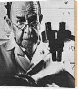 Thomas Hunt Morgan With Microscope Wood Print