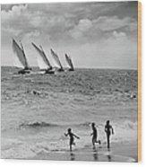 Three Boys Running Along Beach Wood Print