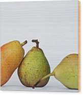 Three Diferent Pears Isolated On Grey Wood Print