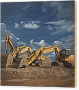 Three Excavators At Construction Site Wood Print