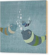 Three Fish In Water Wood Print