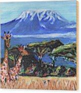 Three Giraffes Wood Print