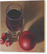 Three Kisses And A Glass Of Port Wood Print