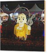 Three Lanterns In The Shape Of Buddhist Monks Wood Print