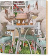 Three Little Pigs And The Birthday Cake Wood Print