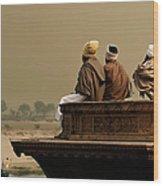 Three Sadhus Meditating By The Yamuna Wood Print