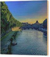 Tiber Evening Wood Print