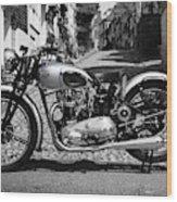 Tiger T100 Vintage Motorcycle Wood Print