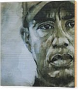 Tiger Woods - On The Road Again  Wood Print