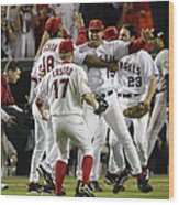 Tim Salmon, Darin Erstad And Alex Ochoa Wood Print
