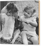 Toddler Trying To Brush Dogs Teeth.  P Wood Print