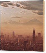 Tokyo And Mount Fuji Wood Print