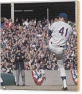 Tom Seaver Pitching During Baseball Game Wood Print