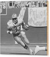 Tony Dorsett Running With Football Wood Print