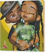 Toon Couple In Love Wood Print