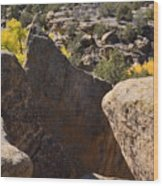 Top Of Rocks Above Canyon In Fall Wood Print