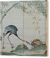 Top Quality Art - Cranes Pines And Bamboo Wood Print