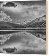 Topaz Lake Winter Reflection, Black And White Wood Print